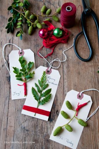 Evergreen Gift Tags via Heather Bullard