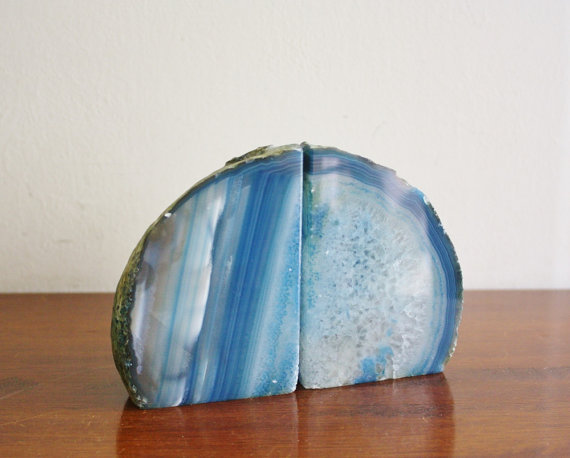Blue Agate Bookends $48