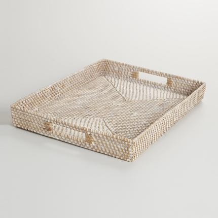 Whitewash Rattan Tray - $19.99