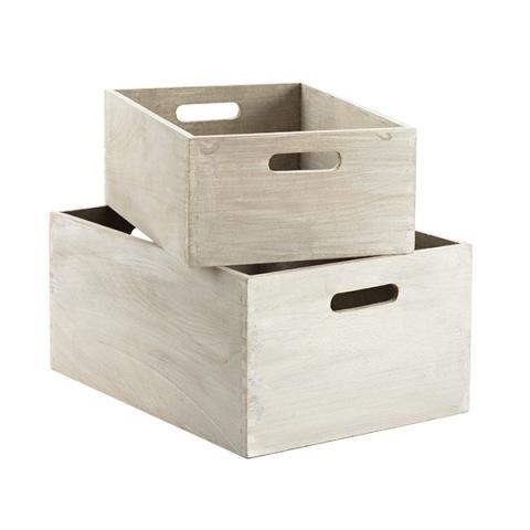 White Washed Wood Bins - $12.99-$24.99