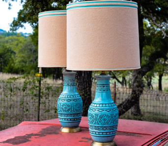 Honeysuckle and Bulldog - Vintage Turquoise Lamps $150/pair