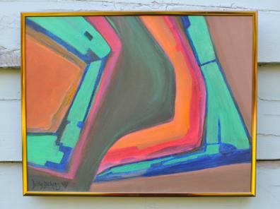 Honeysuckle and Bulldog - Acrylic Painting $80