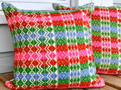 Honeysuckle and Bulldog - African Wool Hand-Embroidered Pillows $90/ea
