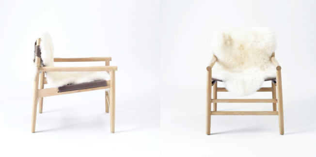 Leather Fur Sling Chair