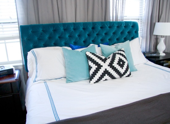 Glitter-and-Goat-Cheese-DIY-tufted-peacock-blue-velvet-headboard